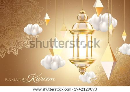 Islamic lantern and cloud set on floral pattern background. 3d Muslim holiday card template suitable for Ramadan, Eid al-Fitr or Hari Raya.