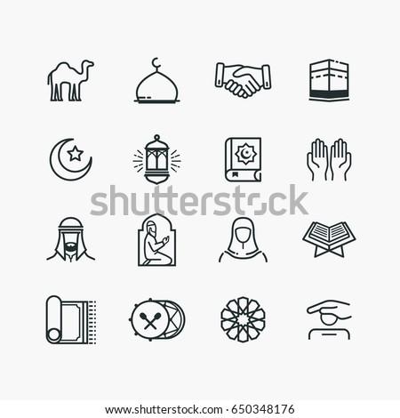 islamic line art icons set