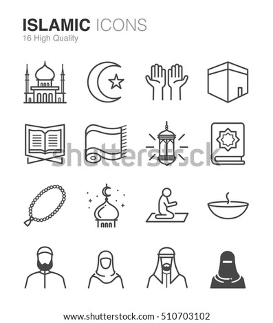 Islamic line icons. Included the icons as Muslim, pray, mosque, religion, Hiyab and more.