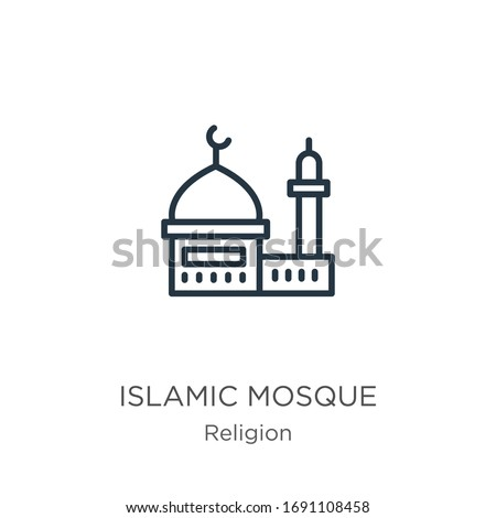 islamic mosque icon thin