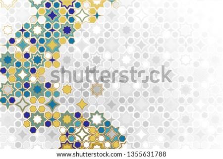 Islamic ornamental Background in color. Islamic ornamental colorful detail of mosaic. arabic, east ornament, indian ornament, persian motif, 3D.  Ramadan Kareem gold greeting card, banner