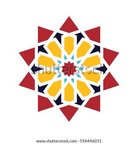 Islamic pattern. Vector geometric lattice mandala in arabic style
