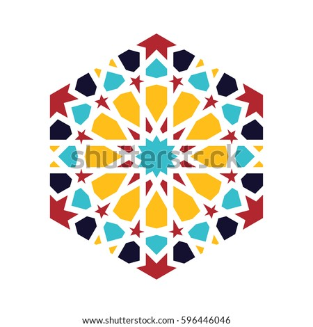 Islamic pattern. Vector geometric lattice mandala in arabic style