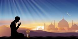 Islamic prayer,Silhouette Muslim man making a supplication (salah)sitting on desert,Arab person praying,Islamic mosque with Lantern light, crescent moon,star. Vector Eid Mubarak, Ramadan Kareem banner