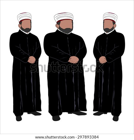 islamic priest vector portrait
