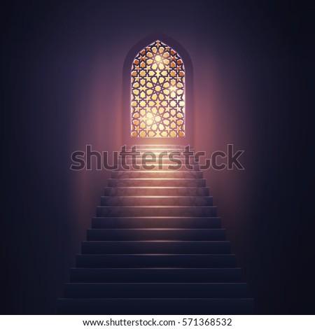 Islamic vector design mosque interior for eid or ramadan greeting background