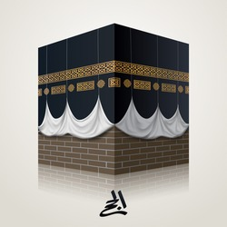 Islamic vector realistic icon illustration of kaaba for hajj (pilgrimage) in mecca