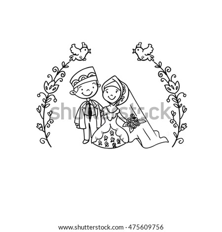 Royalty Free Islamic Wedding Couple Doodle 475609741 Stock Photo