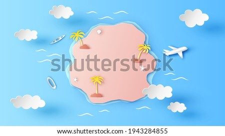 Island aerial view in the middle of Sea. Top view of tropical island in the ocean. paper cut and craft style. vector, illustration. ストックフォト ©