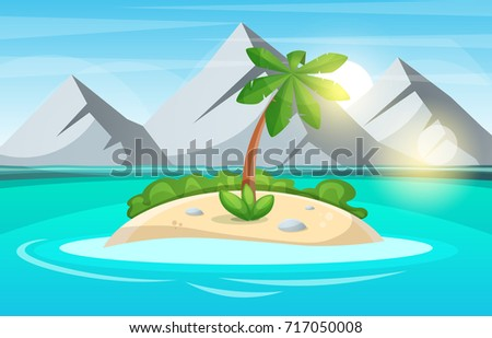 island cartoon sea and sun