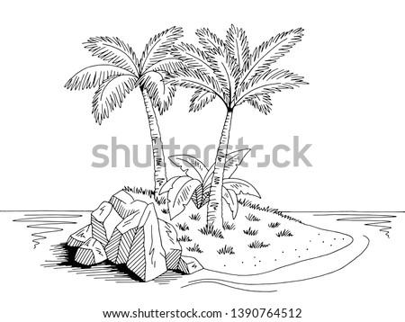 island graphic black white