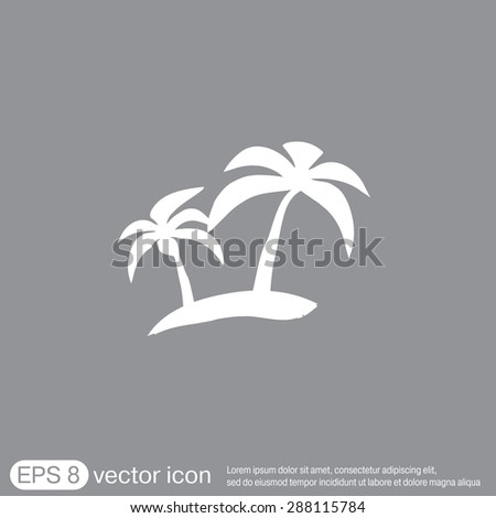 Island Icons Symbol Of The Island With Palm Trees Icon Holiday