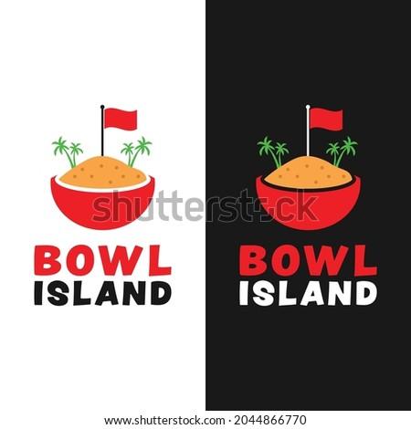 island illustration in a bowl