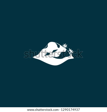 island illustration vector . island illustration vector on blue background
