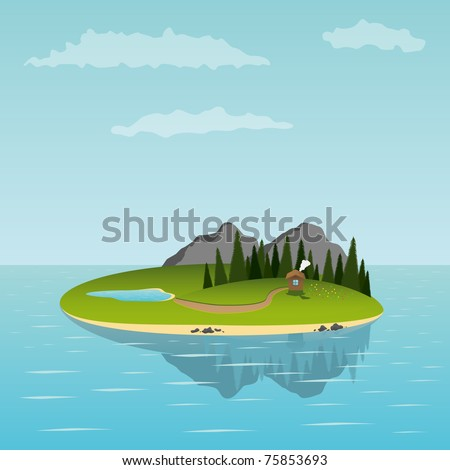 island in the sea with small