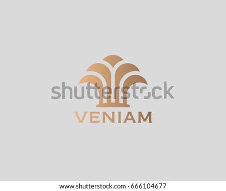 Island palm tree park spa beach logo design. Abstract fountain wealth growth vector logotype.