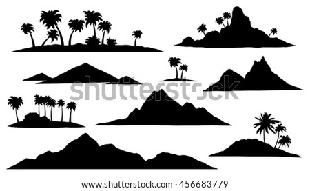 island silhouettes on the white