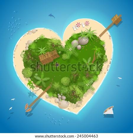 island  top view  heart