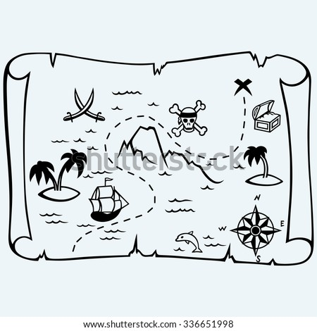 island treasure map isolated