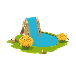 Island with a Lake and Waterfall. Cartoon Vector Illustration