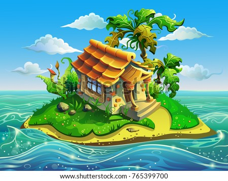 Island with little house in the sea. Vector illustration for design.