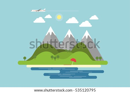 island with mountains  hills