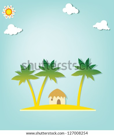 Island with palm trees and hut
