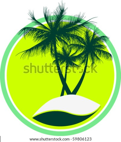 Island with three trees in a circle