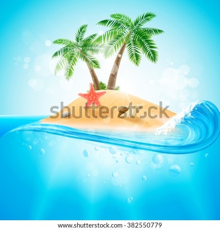 island with wave for summer