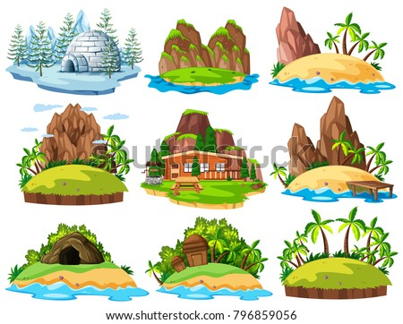 Islands in nature with water and trees