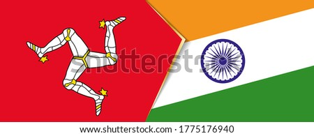 Isle of Man and India flags, two vector flags symbol of relationship or confrontation. Foto stock ©