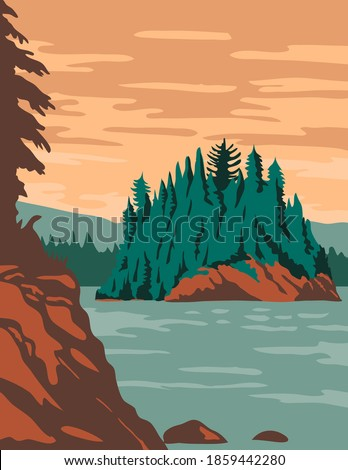 Isle Royale National Park and of islands in Lake Superior Michigan United States WPA Poster Art Color  Foto d'archivio ©