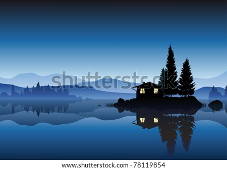 islet in the lake