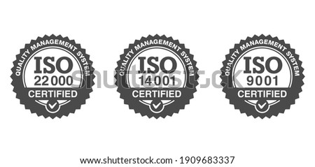 ISO 9001, 14001 and 22000 certified monochrome emblems set - quality management system international standard emblems set - isolated vector signs