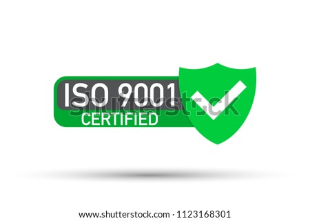 ISO 9001 Certified badge, icon. Certification stamp. Flat design vector. Vector stock illustration.