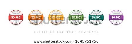 ISO 9001 Certified badge logo colorful design. set bundle certification standard verified vector illustration.