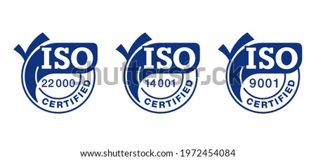 ISO 9001, 14001, 22000 certified flat blue badges set with big check marks - quality management system international standard emblems set - isolated vector signs