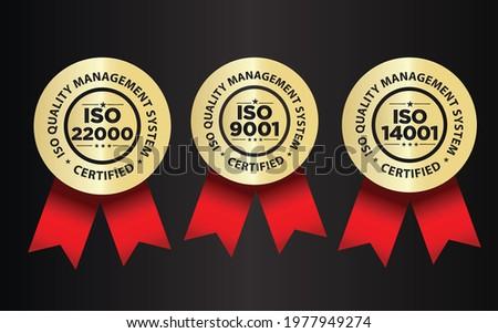 ISO certified, quality management system vector illustration set, premium golden badge
