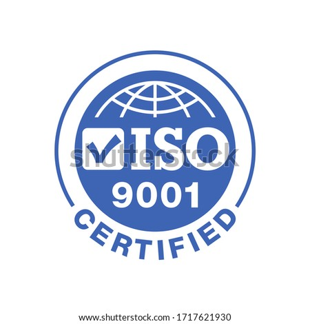 ISO 9001 certified stamp - international quality management system circular sign - isolated vector emblem
