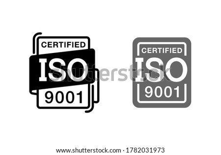 ISO 9001 certified stamp or pictogram for standardizated products marking Photo stock ©