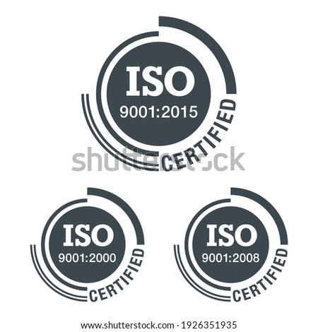 ISO 9001 conformity to standards icon 2000, 2008 and 2015 years of standardization - flat black pictogram with international quality management system guarantee emblem - isolated vector