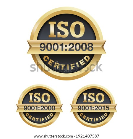 ISO 9001 conformity to standards icon 2000, 2008 and 2015 years of standardization - golden medal award with international quality management system guarantee emblem - isolated vector