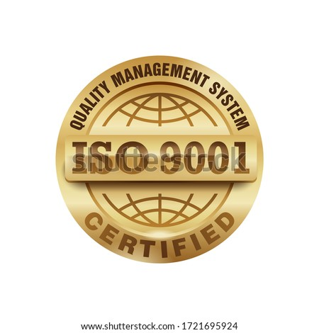 ISO 9001 gold stamp - certification and conformity to international standards  - golden medal award with international quality management system guarantee emblem - isolated vector icon