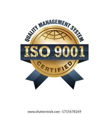 ISO 9001 gold stamp - conformity to international standards  - golden medal award with international quality management system guarantee emblem - isolated vector icon