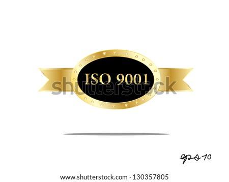 Iso 9001 golden label, vector illustration