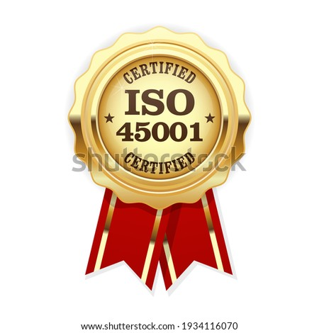 ISO 45001 standard certified rosette - occupational health and safety Stockfoto ©