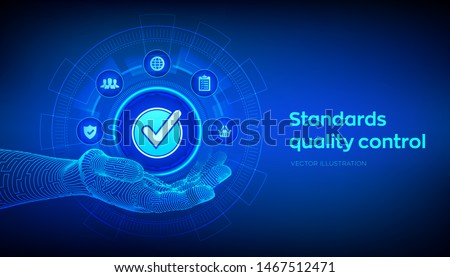 ISO standards quality control assurance warranty business technology concept. ISO standardization certification industry service concept. Accepted sign in robotic hand. Vector illustration.