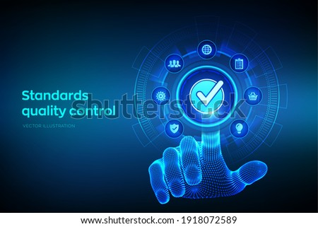 ISO standards quality control assurance warranty business technology concept. ISO standardization certification industry service concept. Robotic hand touching digital interface. Vector illustration.