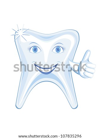 isolalated smiling tooth with big finger