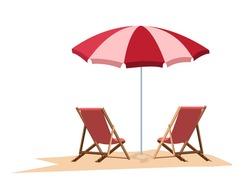 Isolate beach  red strip umbrella, vector